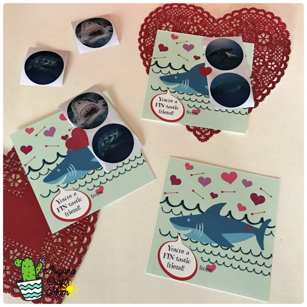 "Easy cute kids shark sticker Valentine's Day card with free printable ""You are FIN-tastic friend"" printable card."