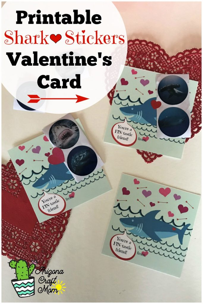 5-minute kids shark and sticker printable Valentine's Day card for classroom Valentine exchange.