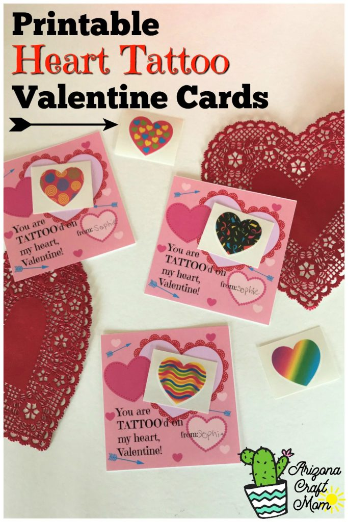 Free printable kids heart tattoo Valentine's Day cards.